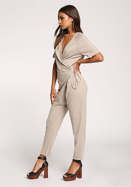 35b85d08d047a Taupe Low V Wrap Side Tie Jumpsuit ...