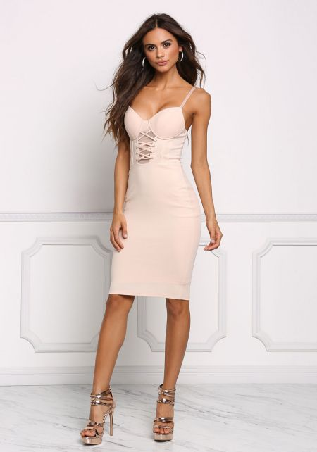 Nude Bustier Lace Up Bodycon Dress