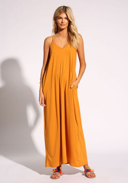Mustard Jersey Knit Pocket Maxi Dress