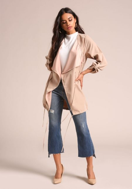 Taupe Fold Over Drawstring Jacket