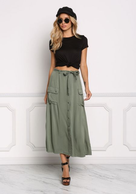 Olive Button Down Pocket Maxi Skirt