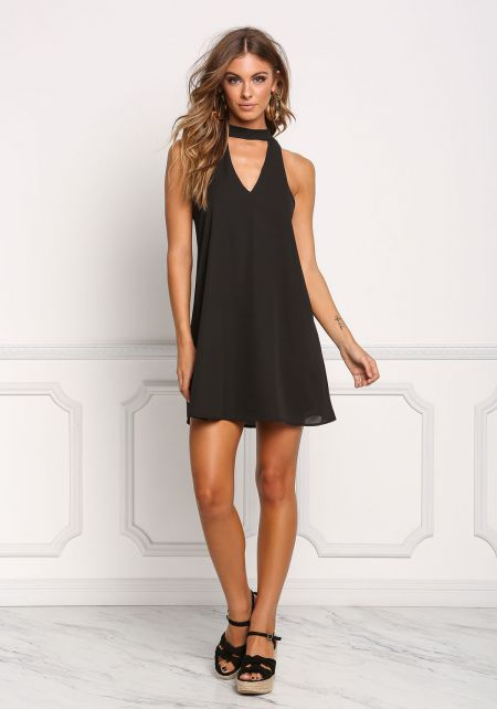 Black Cut Out Choker Shift Dress