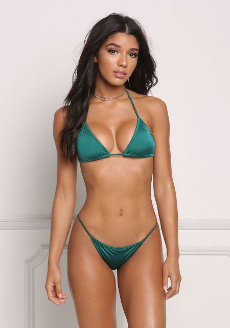 Emerald Metallic Triangle Swimsuit Bikini Top