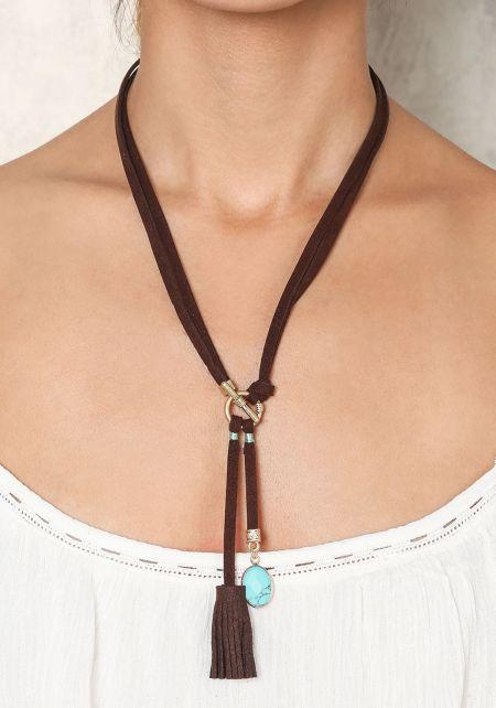 Turquoise Suedette Pendant & Tassel Necklace