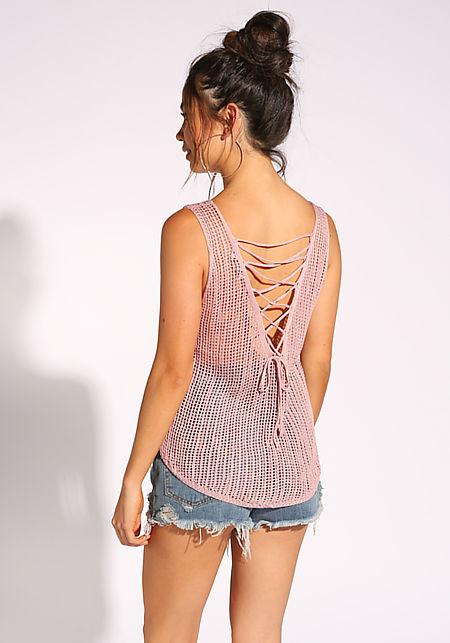 Blush Back Lace Up Knitted Tank Top