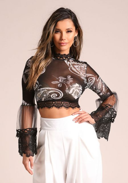 Black Mesh Tulle Embroidered Bell Sleeve Crop Top