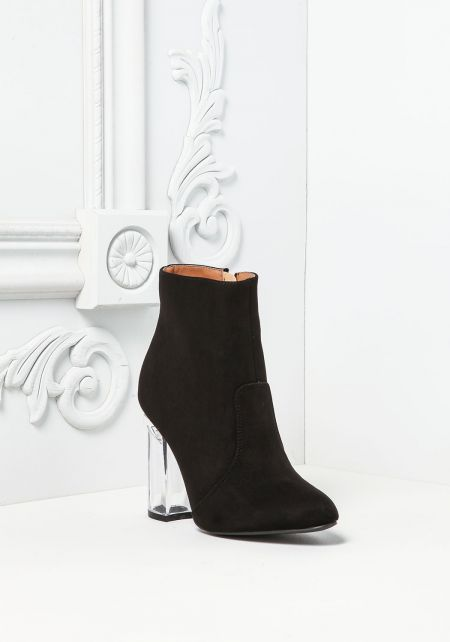 Black Suedette Clear Heel Booties