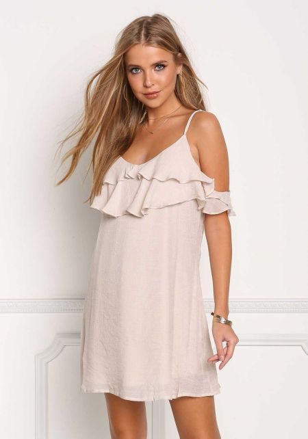 Natural Ruffle Tiered Cold Shoulder Shift Dress