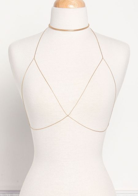 Gold Two In One Choker Body Chain