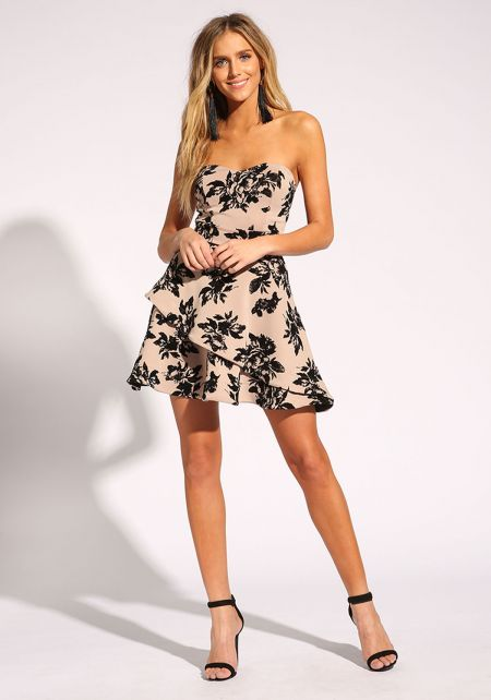 Taupe Floral Velour Strapless Flared Dress