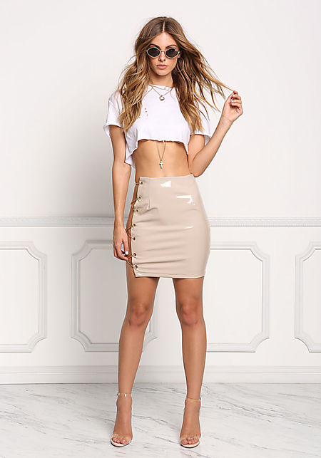 Nude Open Side Cross Chain Latex Skirt