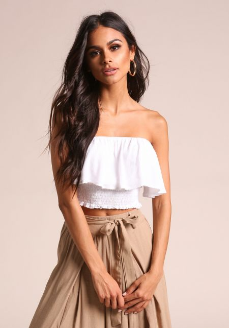 White Crepe Layered Smocked Crop Top