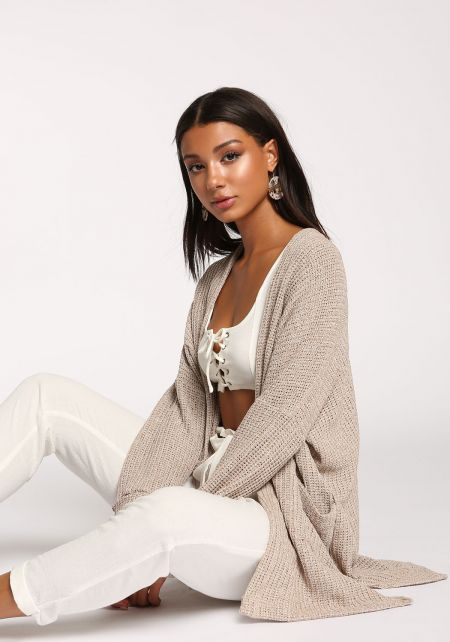 Oatmeal Purl Knit Side Slit Pocket Cardigan