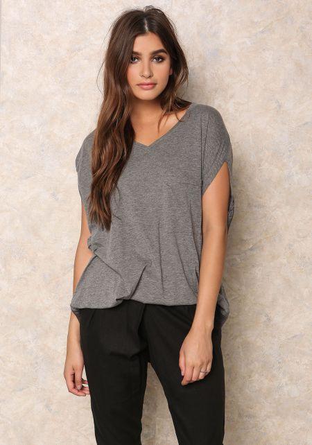 Grey Jersey Knit & Linen Hi-Lo T-Shirt