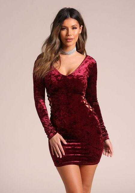 Wine Crushed Velvet Side Cross Strap Bodycon Dress