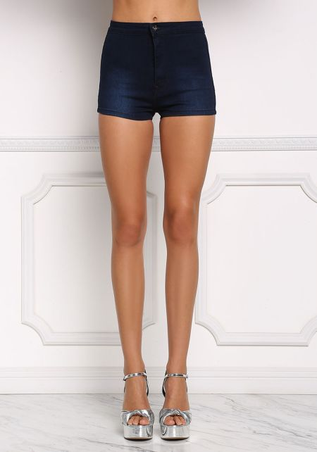 Navy High Rise Basic Shorts