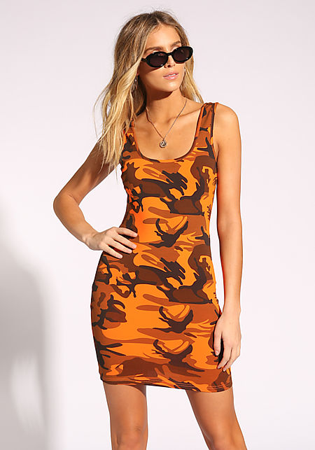 Orange Camouflage Bodycon Dress