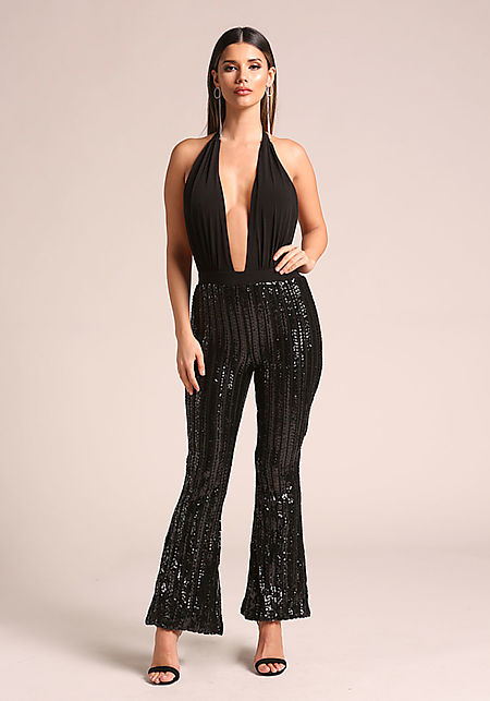 Black Sequin Plunge Bell Bottom Halter Jumpsuit