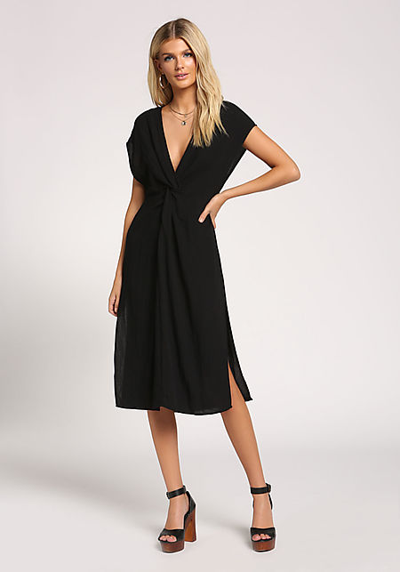 Black Twisted Slit Midi Dress