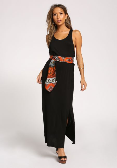 Black Side Scoop Slit Maxi Dress