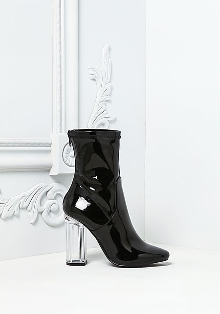 Black Patent Clear Heel Booties