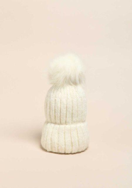 Ivory Faux Fur Pom Pom Thick Knit Beanie