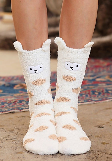 Ivory Bear Polka Dot Plush Socks
