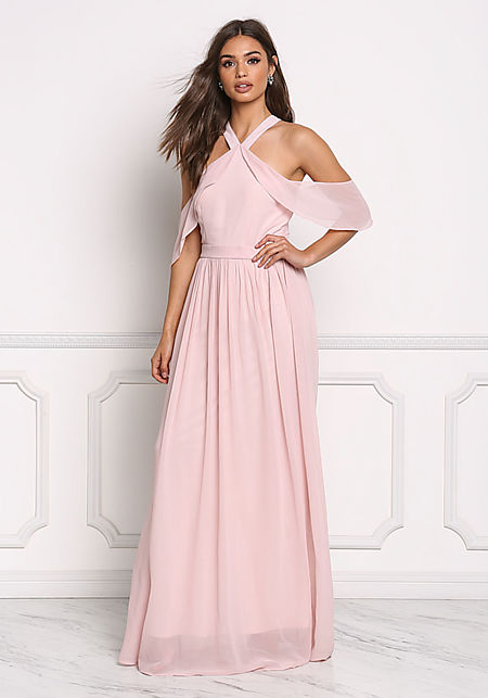 Tea Rose Chiffon Cold Shoulder Maxi Gown