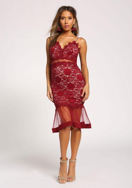Wine Lace Tulle Mermaid Bodycon Dress