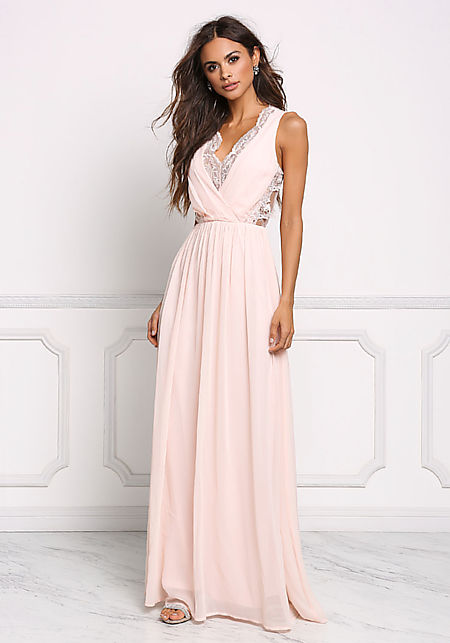Blush Lace Trim Chiffon Maxi Gown