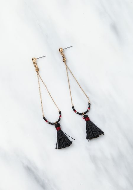 Black Thin Chain Tassel Dangle Earrings