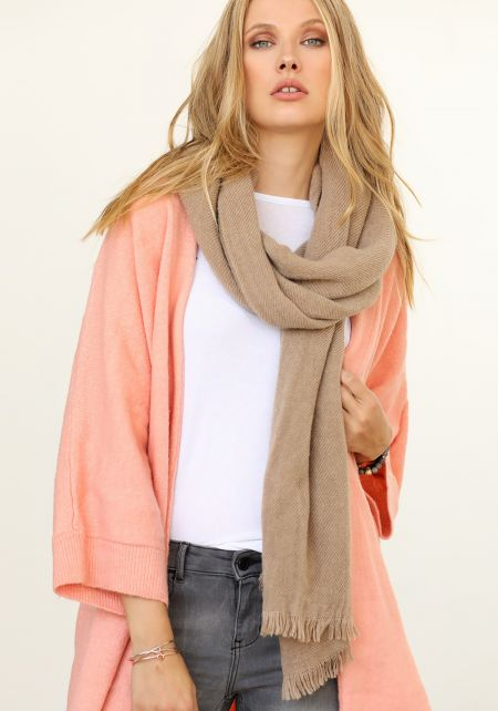 Taupe Long Ribbed Knit Scarf