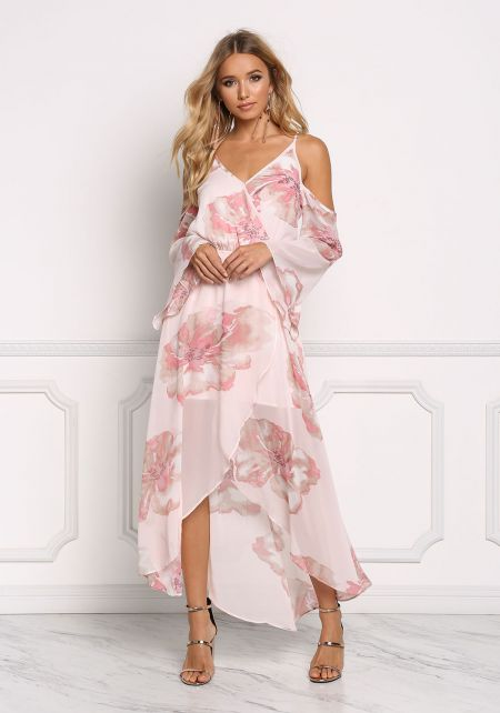 Blush Floral Chiffon Cold Shoulder Maxi Dress