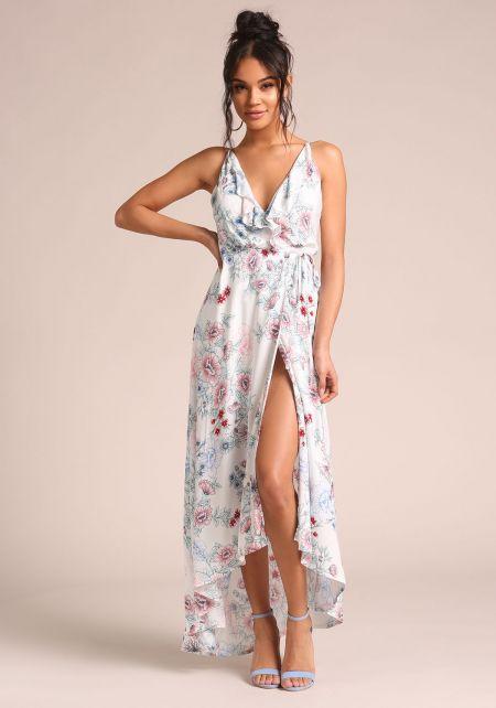 Ivory Floral Back Cross Strap Wrap Dress