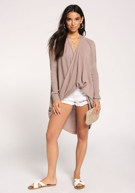 Taupe Hi-Lo Sweater Knit Top