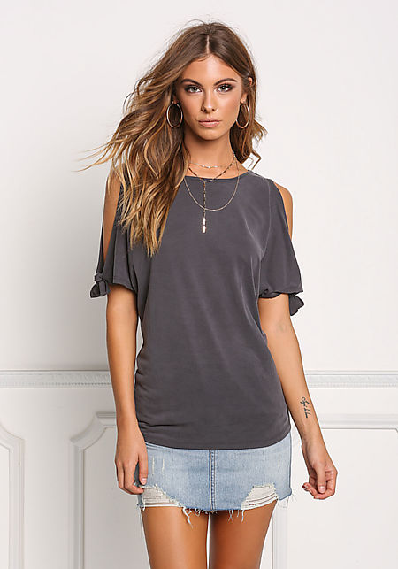 Charcoal Cold Shoulder Tied Knit Top