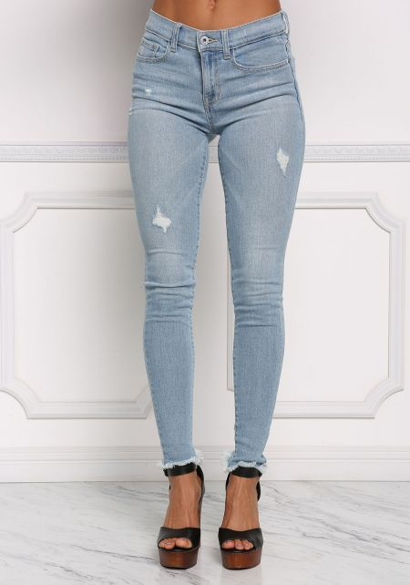 Light Distressed Skinny Denim Jeans