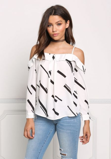 White Cold Shoulder Printed Blouse