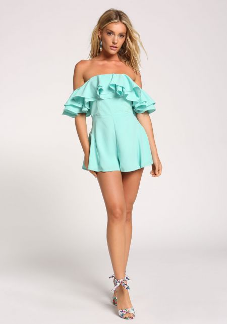 Mint Ruffle Tiered Off Shoulder Romper