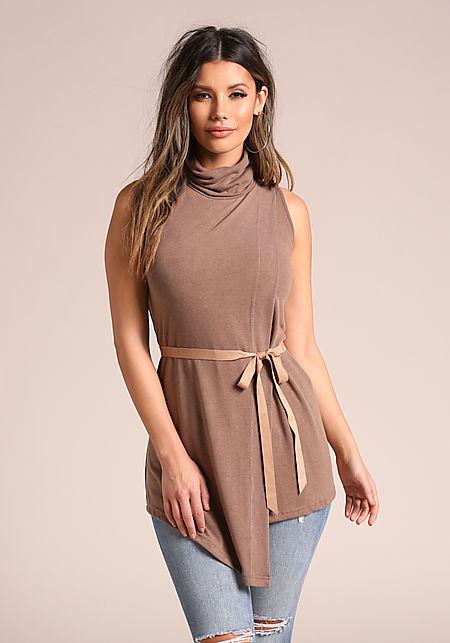 Taupe Asymmetrical Mock Neck Shift Dress