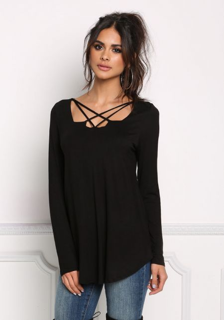 Black Multi Strap Jersey Knit Top