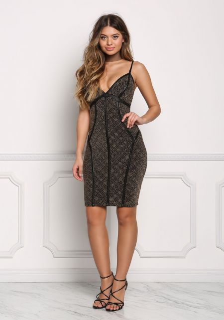 Gold and Black Sparkle Leatherette Trim Bodycon Dr