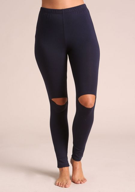 Navy Knee Slit Leggings