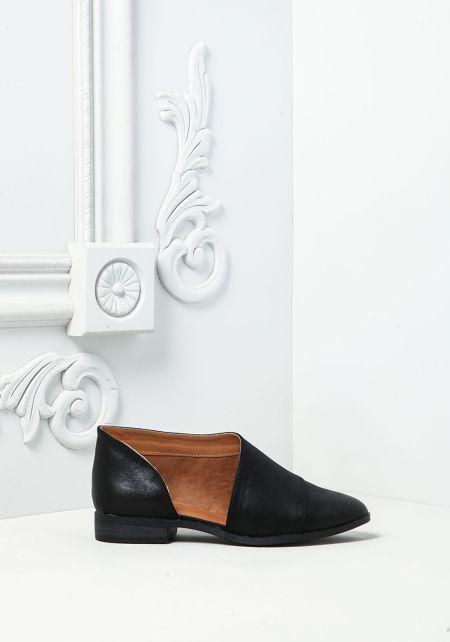 Black Leatherette Side Cut Out Flats