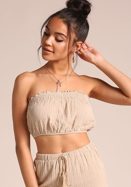 Khaki Smocked Bandeau Crop Top