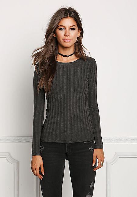 Charcoal Ribbed Knit Sleek Top