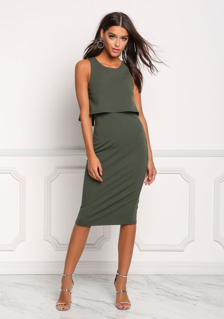 Olive Layered Back Cut Out Bodycon Dress