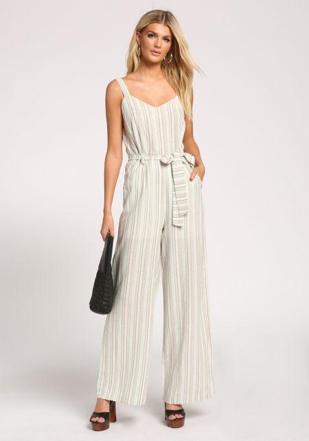 Ivory Linen Waist Tie Pocket Palazzo Jumpsuit