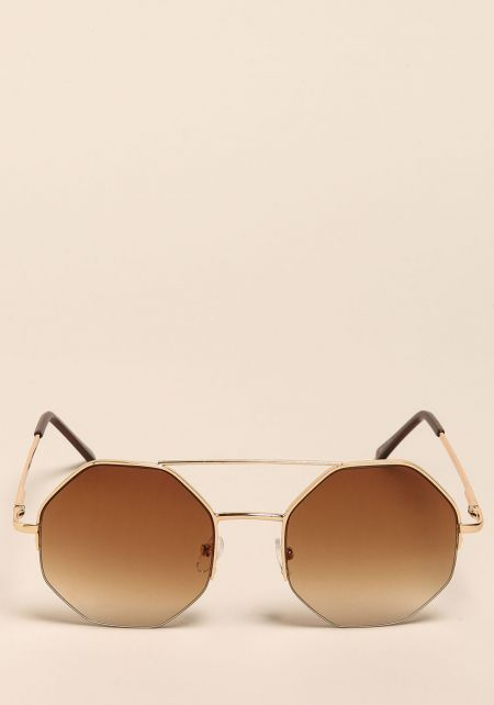 Gold Hexagon Top Bar Sunglasses
