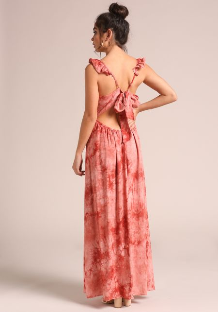 Rust Tie Dye Ruffle Strap Cut Out Maxi Dress